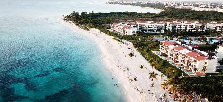 A beach side resort in a tropical setting