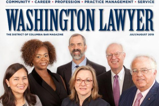 Cover for Washington Lawyer July/August 2019 issue with Gary Thompson